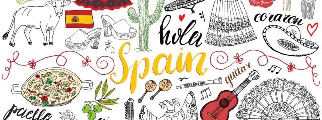 Spain hand drawn sketch set vector illustration.